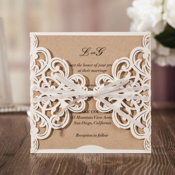 Wishmade Hollow White Lace Flower Invitation Cards Elegant Laser Cut Ribbon Wedding Invitations Kraft Paper Inner Sheet CW6175W