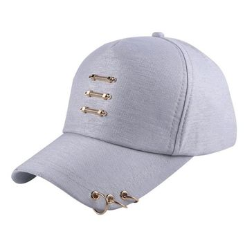 Sports Hat Cap trendy  male female  star design caps metal accessory sew on the cap with rings pattern popular model baseball cap women hats KO_16_1