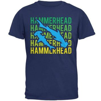 LMFCY8 Hammerhead Shark Stacked Repeat Mens T Shirt