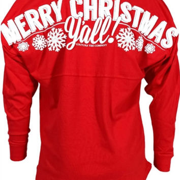 Southern Couture Merry Christmas Y'all Xmas Jersey Pullover Long Sleeve T Shirt