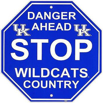 "Kentucky Wildcats 12"" Plastic Wall STOP Sign Country DANGER AHEAD University of"