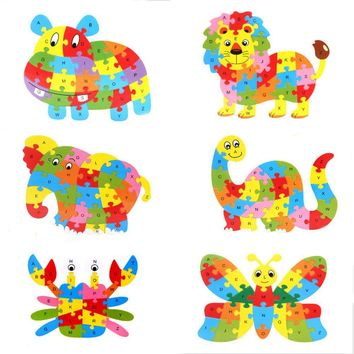 1 Pack Funny Wooden Animals Children ABC Learning Educational Toy Alphabet Wooden Jigsaw Puzzle Toy Kids Gift