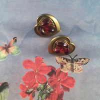 Gold Heart Shaped Earrings With Red Glass Centers, Screw Back, Vintage Jewelry, 1940's (Maybe Older-See Note In Description), Art Moderne