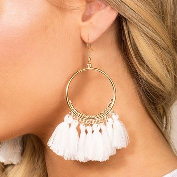 In The Loop White Tassel Earrings