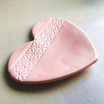 Ceramic Heart Shaped Tea Bag Holder Dish - Pretty Ornate Porcelain Coral Pink Spoon Rest Hostess Gift