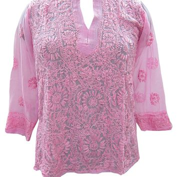 Mogul Womens Top Blouse Pink Georgette Hand Embroidered Boho IndianTunic Shirt