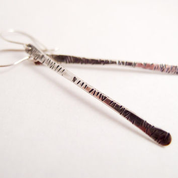 Sterling Silver Earrings Simple Jewelry  Boho jewelry Hammered Silver Handcrafted Jewelry Long Earrings Modern Jewelry Stick Valentines