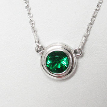 Emerald Pendant Solitaire Top Quality Emerald Gemstone 14K White gold May Birthstone