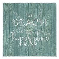 Beach Happy Place Starfish Aqua Wood Poster