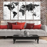large black and white world map, push pin World map wall art canvas print extra large canvas art for bedroom room, world travel map , wall decoration for bedroom, world map grey, hr119