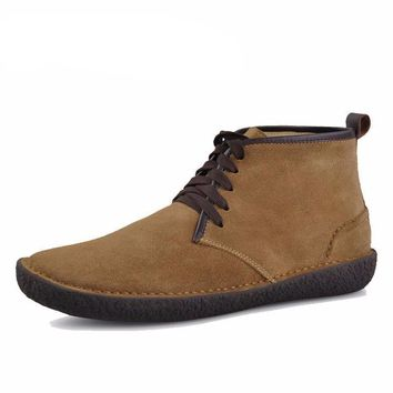 Men's Suede Leather Bended Wool Classic Chukka Boots