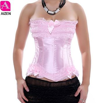 AIZEN pink corset overbust plus size lace corset top for women shaper gothic satin lace up red corset and bustier bridal balck