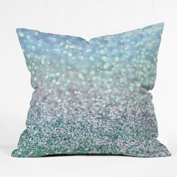 Lisa Argyropoulos Blue Mist Snowfall Outdoor Throw Pillow
