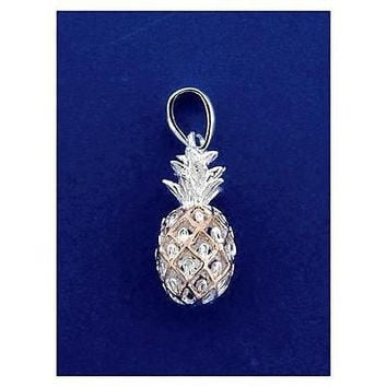 SILVER 925 ROSE GOLD PLATED 2 TONE HAWAIIAN 3D PINEAPPLE CHRAM PENDANT SMALL