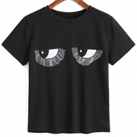 Cotton Eyes Embroidered Applique T Shirt