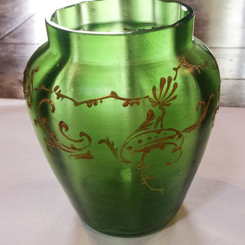 French Art Deco Vase, Green Frosted Glass, Gilt Swirl Overlay, CHRISTMAS IN JULY Sale