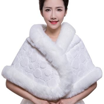 In Stock Wedding Accessory Faux Fur Black White Custom Made Bridal Coat Wedding Bolero Stoles Jacket Shrug Wraps LF37