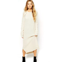 White Cutout Long-Sleeve Split Dress