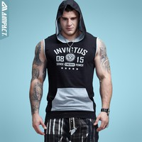 Aimpact Bodybuilding Sleeveless Hoodie Contrast Pocket Fitted