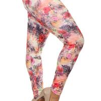 Women's Always Stretch Floral Dream Printed Leggings-Plus-Size Onesize