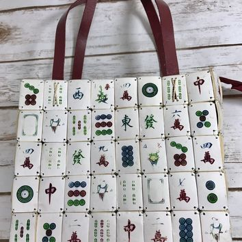 VINTAGE MAH JONG TILE HANDBAG- FIRM SHAPE,LOOP HANDLES PHILIPPINES