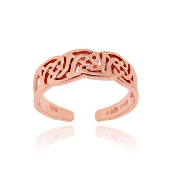 18K Rose Gold Over Sterling Silver Irish Celtic Knot Toe Ring