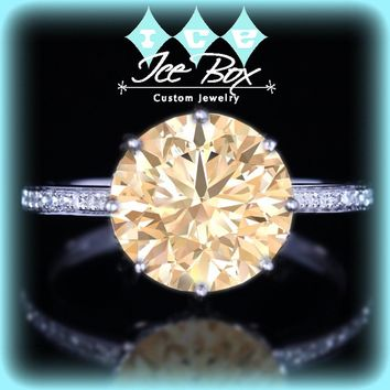 Champagne Moissanite Engagement Ring with Matching Band 10.5mm 4.2ct Round in a 14K White Gold Diamond Filigree Setting