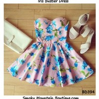 Iris Floral Bustier Dress with Adjustable Straps (Pink with Blue Floral Pattern) - Size XS/S/M BD 394 - Smoky Mountain Boutique