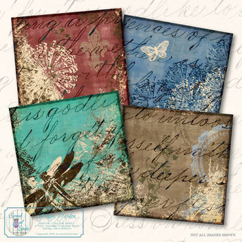 Coasters , Collage Sheet - Country Hedgerow - Paper Craft Supplies, Scrapbook, Greeting Cards, Printable Images, Instant Download