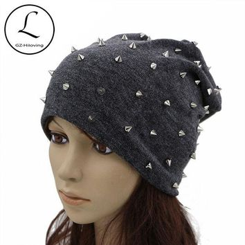 DCCKJG2 GZHILOVINGL Beanie For Women Handmade Full Rivet Skullies Beanies Drak Gray Slouch Hat Ladies Dome Cap Knitted Bonnet Hats 61225