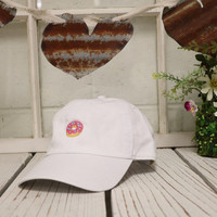 PASTEL DONUT Baseball Hat Low Profile Embroidered Baseball Caps Dad Hats White