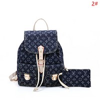 LV Louis Vuitton Fashionable Women Chic Cowboy Bookbag Shoulder Bag Backpack