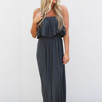Basic Strapless Summer Maxi {Charcoal}