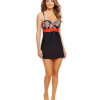 Alex Marie Black Floral Paisley Swim Dress - Black