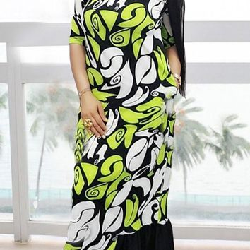 Green Patchwork Floral Pattern Pockets Draped Half Sleeve Mermaid Party Maxi Dress