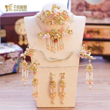 Chinese bride headdress costume gold floral hairpin wedding  hairwear and earrings photography accessories manrou