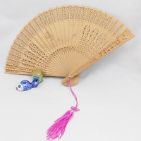 Bamboo Hand Held Fan, Beautiful Carved Bamboo Asian Fan with Pink Tassel
