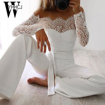 WYHHCJ women summer jumpsuit sexy off shoulder long sleeve women bodysuit lace patchwork bodycon rompers womens jumpsuit