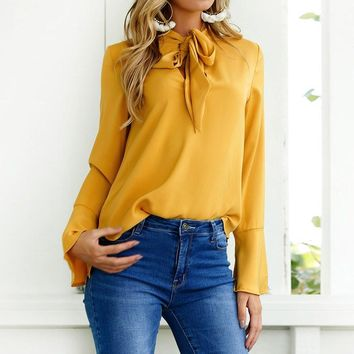 Bow Tie Flare Sleeve Blouse