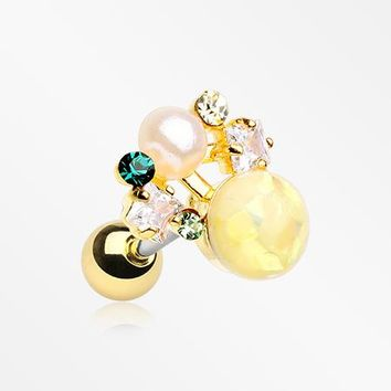 Golden Opalescent Sparkle Pearl Ray Cartilage Tragus Earring