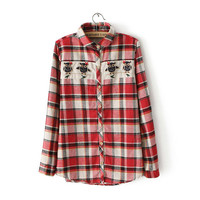 Red Plaid Embroidered Owl Print Long-Sleeve Button Collared Shirt