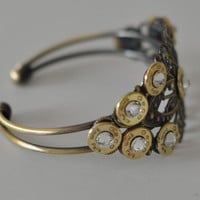 9mm Pistol Bullet  Bracelet Filigree Cuff  11 Swarovski Crystals Custom Made