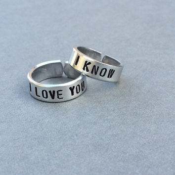 I Love You I Know Han Solo Princess Leia Star Wars Best Friends Rings Couples Rings Hand Stamped Ring Aluminum