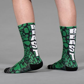 Beast Snake Skin Green Soft Socks