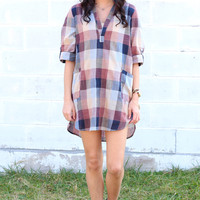 Checkered Tunic Shirt Dress {Maroon/Navy}
