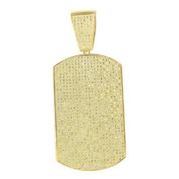 Dog Tag Pendant 14K Yellow Gold Finish Simulated Diamonds