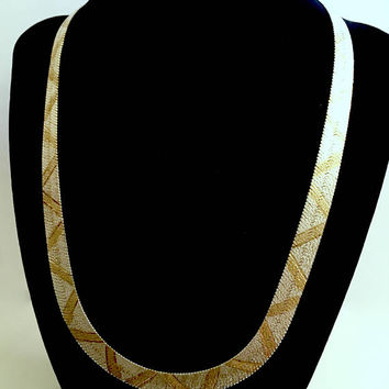 Vintage Milor Italian Sterling Silver 20 Inch Herringbone Chain with Gold Accent, Gold Snake Skin Design and Lobster Claw Clasp - 29 grams