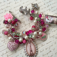 French Inspired Charm Bracelet - Ooh La La - Multi Crystal Beads and Charms Statement Bracelet