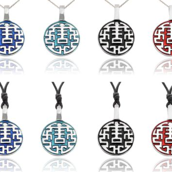 Chinese Lucky Design Silver Pewter Charm Necklace Pendant Jewelry