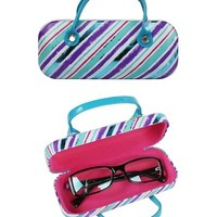 JAVOedge Stripes Handbag Eyeglass Case (Turquoise) - Bonus Free Soft Microfiber Lens Cleaning Cloth